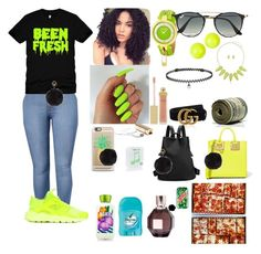 """""""Tuesday 1/31/17 99th day of school 💣🔫++"""" by aleciadowdemll ❤ liked on Polyvore featuring beauty, NIKE, Alexis Bittar, Versus, BERRICLE, Sophie Hulme, Casetify, Happy Plugs, Gucci and Ray-Ban"""