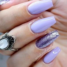 Beautiful Lilac Nails With Lavender Glitter Accent ️Coffin Nails Ideas For Enchanting Look ️… - coffin #nails #nailscoffin #coffinnails #FrenchTipNails
