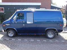 Blue chevy van