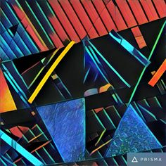 "Took photo with iPhone of glass art work exhibit in Jacksonville Airport.  Applied the ""Aviator"" effect from the Prisma App to obtain this abstract result.  9/14/16"