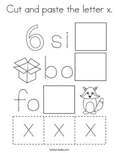 Cut and paste the letter x Coloring Page - Twisty Noodle Zebra Coloring Pages, Fox Coloring Page, Letter Worksheets For Preschool, Preschool Letters, Activity Sheets For Kids, Craft Activities For Kids, First Grade Curriculum, Z Craft, Cut And Paste Worksheets