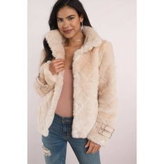 Beulah Cross My Heart Faux Fur Coat (€105) ❤ liked on Polyvore featuring outerwear, coats, cream, fake fur coats, cream faux fur coat, faux fur coat, imitation fur coats and pink faux fur coats