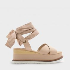 Beige Scarf Wrap Ankle Strap Flatforms |CHARLES & KEITH