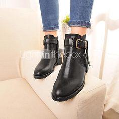 zapatos de las mujeres del dedo del pie redondo botines de tacón bajo más colores disponibles 2017 - $59.99