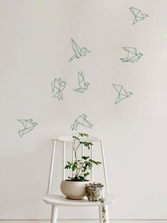 Troupeau de vol Origami oiseaux Decal pour maison par ZestyGraphics