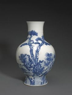 A blue and white baluster vase Yongzheng mark, late Qing/Republic period