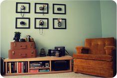 Vintage camera collection displayed.