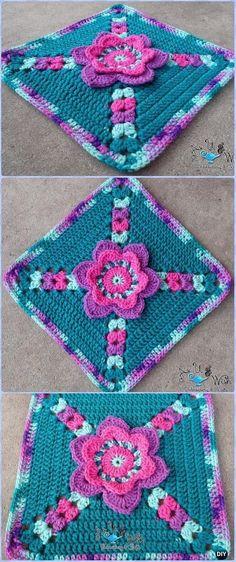 Crochet Tip Toe Through the Tulips Granny Square Free Pattern - Crochet Granny Square Free Patterns
