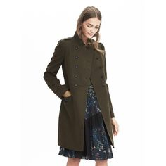 Banana Republic Womens Melton Wool Long Military Jacket ($298) ❤ liked on Polyvore featuring outerwear, jackets, olive green heather, military jacket, olive military jacket, army jacket, army green military jacket and green military jacket