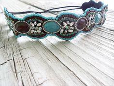 Beaded floral headband boho beaded Turquoise seed beaded headband boho spring fashions by myfashioncreations, $28.00