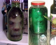 WOW!     Print an image of a flattened face with a laser printer, stick it in a jar full of water and add some hair for effect, and you've got an eerily realistic, rather gruesome Halloween prop that costs next to nothing. Use a tall, narrow jar and roll up the paper when you insert it so that it unfurls close to the glass, giving it a three-dimensional look. Using a laser printer ensures that the ink won't run when placed in water.