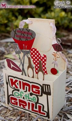 CG Box Cards grilling apron box card #svg #svgattic