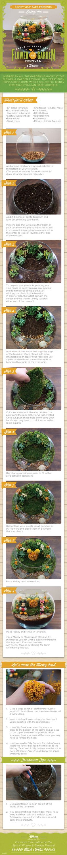 Flower Power! Check out this DIY Disney themed terrarium, inspired by the Epcot® Flower & Garden Festival. Then get creative and make your own featuring your favorite Disney Characters. Experiment with different flowers and colors…let your imagination bloom!