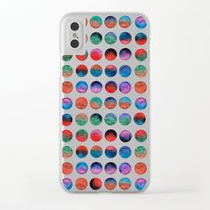 Colorful watercolor dots Clear iPhone Case by schimoni_art