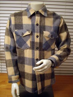 vintage woolrich plaid wool button-up flannel jacket