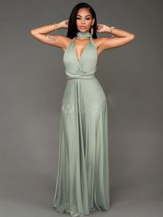 Women's Maxi Dress Sleeveless Cross Front Backless Adjustable Long Wrap Dress-No.4