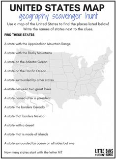 A fun geography scavenger hunt to introduce young kids to the United States! geography activity is also a perfect idea for the Summer Olympics! 5th Grade Geography, Middle School Geography, Geography Worksheets, Geography For Kids, Geography Activities, Social Studies Worksheets, Homeschool Worksheets, Geography Map, Printable Worksheets