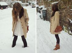 dress + coat + boots