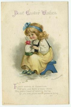 Easter Greeting A/S Ellen Clapsaddle Girl on Bench Putting Bonnet on Rabbit #Easter
