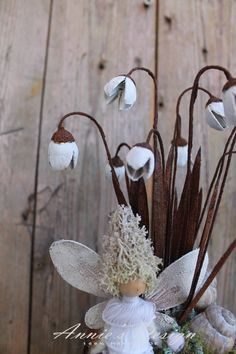 Nyílik már a hóvirág - vintage asztaldísz tündérrel (anniesdesign) - Meska.hu