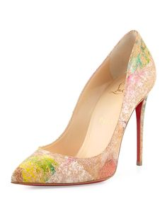 """Christian Louboutin printed cork pump. 4.7"""" stiletto heel. Pointed toe. Low-dipped vamp. Topstitched collar. Leather insole. Signature red leather outsole. """"Pigalles Follies"""" is made in Italy."""