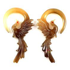 PHOENIX Organic Horn Gauge Earrings 1 Pair Handmade by quecraft, $11.80