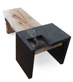 Concrete Wood Table/Bench by Randy Mugford