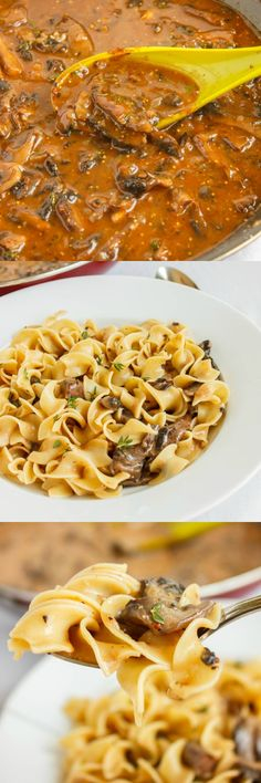 Mushroom stroganoff is a hearty vegetarian dish that uses portobello mushrooms as the sustainable ingredient. Recipe can be adjusted to be vegan. Veggie Dishes, Pasta Dishes, Veggie Recipes, Whole Food Recipes, Cooking Recipes, Healthy Recipes, Greek Recipes, Lunch Recipes, Dinner Recipes