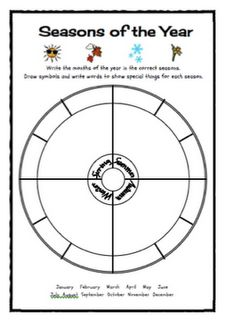 The would be a fun activity to incorporate as a review. Students can choose a color or draw a picture for each season, describe the weather or a favorite activity for each season, and write specific special days for each season.