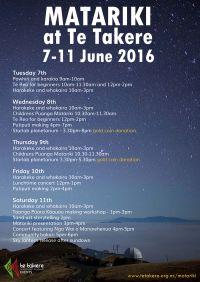 2016 Matariki schedule Te Takere