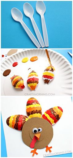 Plastic Spoon Turkey Thanksgiving Craft for Kids - Crafty Morning