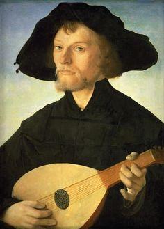 16th c Jan van Scorel - Portrait of a Lute Player