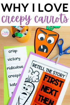 Creepy Carrots is one of my favorite read-alouds for Halloween or anytime of the year for that matter. In this post, I am sharing why I love Creepy Carrots as a Halloween book. This book is great for teaching story elements and retelling. This book helps students to understand characters, setting, solution, and problem. It is great for working on comprehension skills and vocabulary words. You will find Creepy Carrots activities and a craft that is hands-on and fun for your elementary students.
