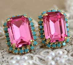 Turquoise pink  Crystal Octagon post earrings - 14 k plated gold Crystal earrings, bridesmaids,brides jewelry.