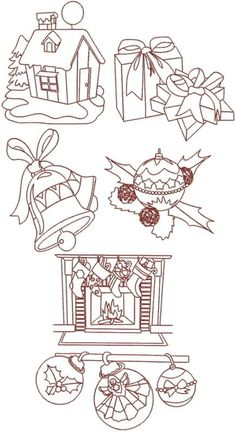 Advanced Embroidery Designs - Christmas Redwork Set IV