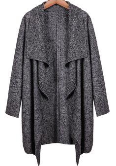 Grey Lapel Long Sleeve Loose Coat - Sheinside.com