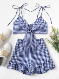 Knot Front Checked Cami With Shorts