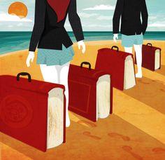 Travel for education, book bags / Viaje por la educación, maletas de libros (ilustración de Kerry Hyndman) #biblioteques_UVEG