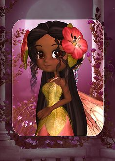 Cute Fairy In Pinks African American by Moonlake