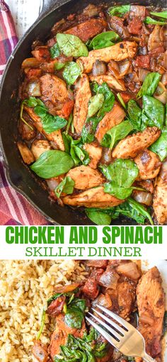 and Spinach Skillet Dinner Chicken and Spinach Skillet Dinner is an easy delicious dinner you can have on the table in no time at all.Chicken and Spinach Skillet Dinner is an easy delicious dinner you can have on the table in no time at all. Healthy Dinner Recipes For Weight Loss, Best Dinner Recipes, Healthy Recipes, Dinner Healthy, Vegetarian Recipes, Easy Recipes, Healthy Chicken Dinner, Healthy Delicious Dinner Recipes, East Healthy Dinners