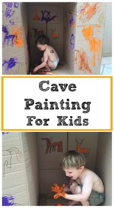 Cave Painting for Kids Activity  A fun and easy way for our children to learn about prehistoric cave painting and cave art before our trip to Lascaux, France.