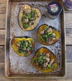 Sausage & broccoli rabe stuffed acorn squash.   The classic combo of spiced Italian sausage and bitter broccoli rabe is hard to beat. Add our balsamic and stuff it in a squash? It's a new classic that you will make again and again!