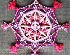 Items similar to Rainbow Web, double-sided yarn mandala ~ Ojo de Dios, 5.7 inches (14 cm), 8-sided, hanging mobile on Etsy