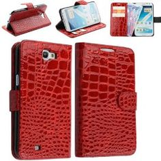 Amazon.com: Ideal Red Alligator Faux Leather Folio Wallet Case Cover for Samsung Galaxy Note 2 II N7100: Cell Phones & Accessories