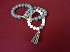 Grey and white bracelet set Handmade by letitia ♡ ♥