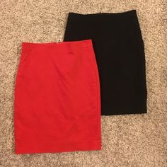 """Black Limited pencil skirt. Size 4. I have a black and a red size 4 pencil skirt from the Limited. Same exact skirt, different colors. There's a 2"""" inch slit up the back. Separate, they are $20 a piece. Together, they are $35. The Limited Skirts Pencil"""