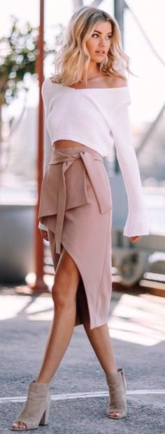 #Summer #Outfits / Off One Shoulder White Top + Beige Wrap Skirt