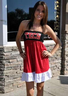 Texas Tech scarlet & black ruffle tube dress