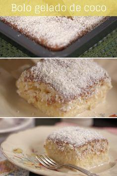 "Veja como fazer o famoso bolo ""toalha felpuda""                                                                                                                                                                                 Mais Sweet Recipes, Cake Recipes, Delicious Desserts, Yummy Food, Portuguese Recipes, Summer Desserts, Homemade Cakes, Yummy Cakes, Love Food"