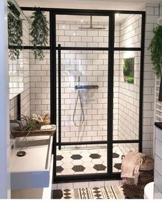 Black Framed Glass is such a nice look in the bathroom!